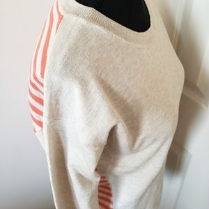 Poof. Coral Striped Crewneck Sweater